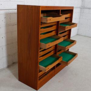 Danish Double Teak Tall Locking Tambour Door Jewelry Cabinet w/ Drawers