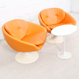 Pair of 60's Overman Swedish Pod Swivel Chairs