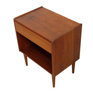 Petite Pair Danish Teak Single Drawer Nightstands / End Tables