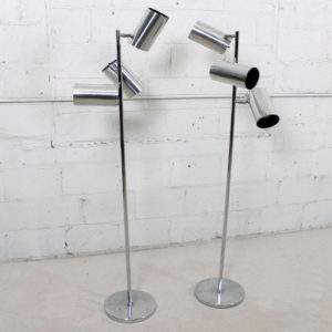 Pair of Triennale 1970s Chrome Adjustable Floor Lamps