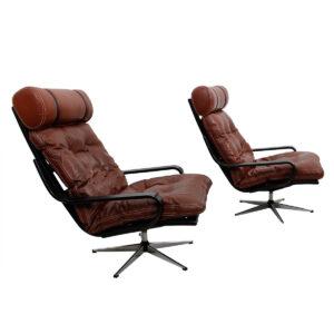 Pair of Leather & Chrome Swivel Base Danish Lounge Chairs