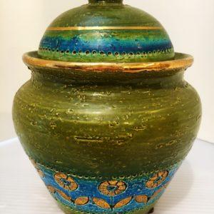 Vintage Italian Majolica Lidded Jar, Bitossi