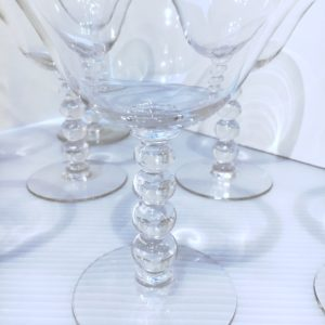 Set of 8 Vintage Martini / Cocktail Glasses, Stacked Ball Stem
