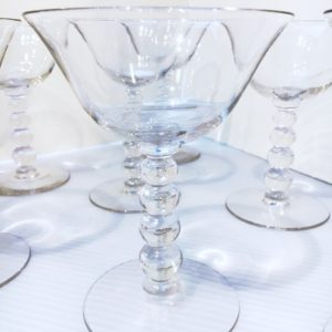 Set of 8 Vintage Martini / Cocktail Glasses, Stacked Ball Stem
