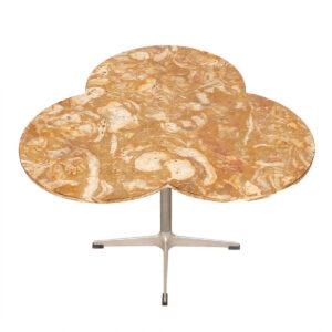 Vintage Marble Top Trefoil Table w/ Chrome Star Base