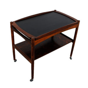 Danish Rosewood Bar Cart w/ Removable Serving Tray