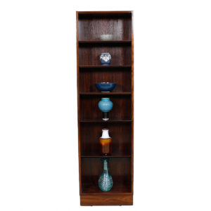 Tall & Ultra Thin Danish Rosewood Bookcase