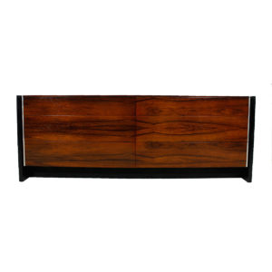 MCM John Stuart Black Lacquer and Rosewood 6 Drawer Dresser