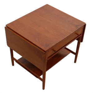 Hans Wegner AT 33 Danish Teak Expanding Sewing Table w/ Drop Leaves