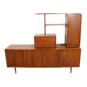 MCM 2-Piece Walnut Sideboard / Wall Unit with Cantilevered Bar / Display Top