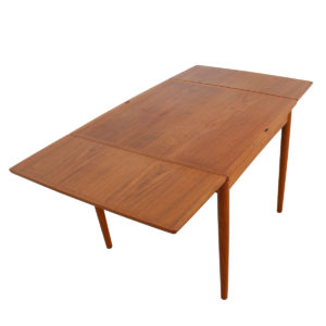 Square Danish Teak Compact Expanding Dining / Flip-Top Game Table