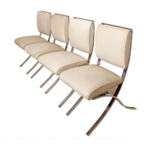 Set of 4 Barcelona Style Chrome & White Chairs