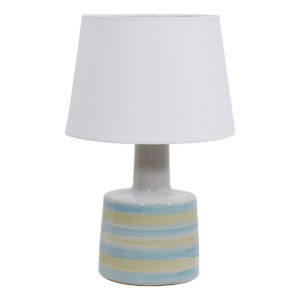 Small Martz Pottery Lamp, Painted Blue & Yellow Stripes