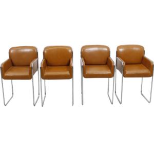 John Stuart Set of 4 Caramel Leather & Chrome Chairs