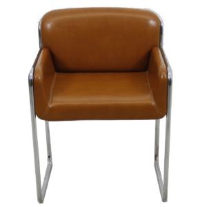 John Stuart Set Of 4 Caramel Leather U0026 Chrome Chairs