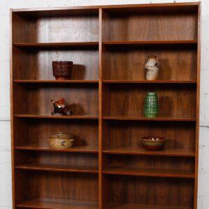 Danish Modern Walnut Tall Adjustable Shelf Bookcase