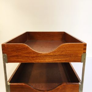 Desk Accessory: MCM 2-tier Walnut In / Out Box