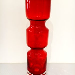 Red Glass Vase with Beautiful Shape