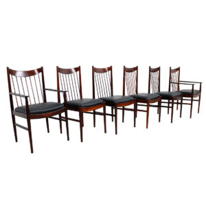 Rare Set 6 Arne Vodder – Helge Sibast Rosewood Dining Chairs