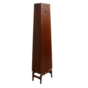 Rare Danish Teak Tall Longcase Clock w/ Internal (Bar) Storage