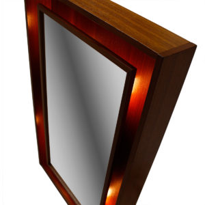 Danish Modern Teak Lighted Mirror by Pederson & Hansen, Denmark