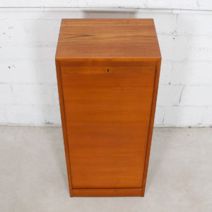 Danish Teak Tall Locking Tambour Door Jewelry Cabinet