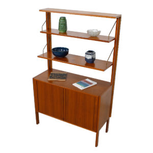 Free-Standing Danish Teak Adjustable Wall Unit w/ Tambour Door Storage Cabinet