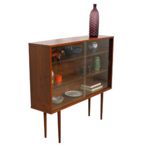 Thin 1950s Walnut Display Cabinet w/ Glass Doors & Adjustable Shelves