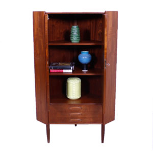 Locking Danish Modern Teak Compact Corner Cabinet
