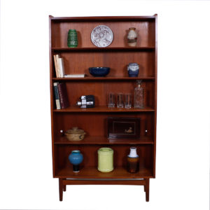 Chamfered Adjustable Shelves Danish Teak Bookcase
