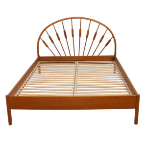 "Danish Modern Teak Spindle Queen Bed Frame w/ ""Peacock"" Headboard"