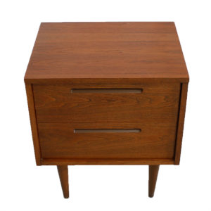 Pair Walnut American Modern Accent Tables – Night Stands