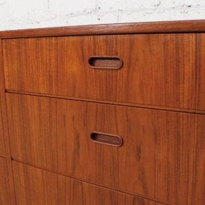 Falster Danish Modern Long Teak 9 Drawer Dresser