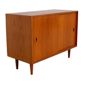 Petite Danish Modern Teak Media Storage Cabinet / Bar
