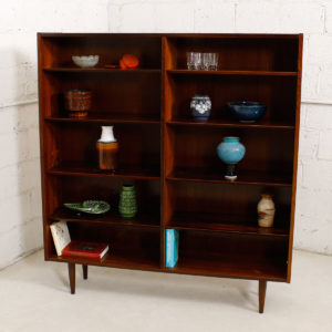 Danish Rosewood Double Bookcase w/ Adjustable Beveled Shelves