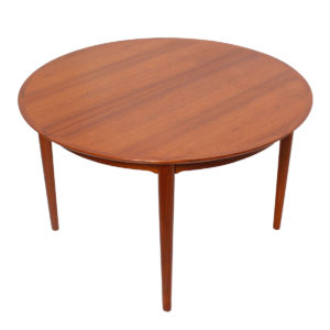 Vodder Expanding Round-to-Oval Danish Teak Dining Table