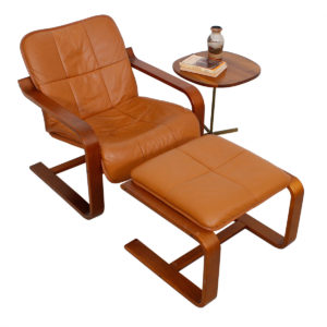 Finnish Brown Leather Lounge Chair & Matching Ottoman