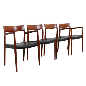 Set of 4 Leather Danish Teak Niels Moller Dining Chairs – Models #57 / #77