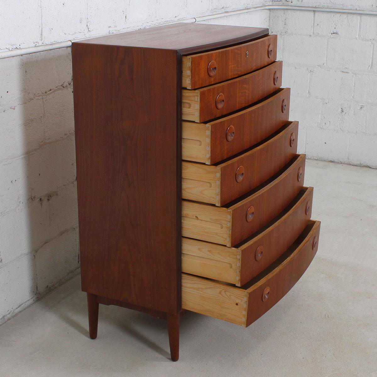 kai kristiansen danish modern bow front highboy dresser - Highboy Dresser