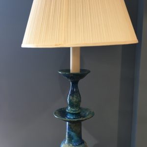 MCM Blue Italian Majolica Table Lamp