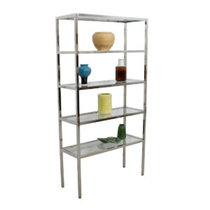 Chrome & Glass Etagere / Display Shelving / Book Case