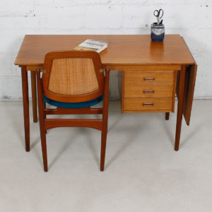 Expanding Arne Vodder Teak Desk w/ Adjustable Drawers