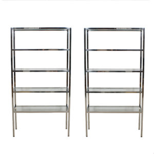 Pair of Chrome & Glass Etageres / Display Shelves / Book Case