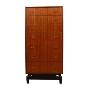 English 24″ G-Plan Mahogany Compact Tallboy Dresser by E Gomme Ltd