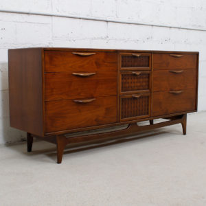 Walnut Mid Century Modern Sculpted Pull Long Dresser