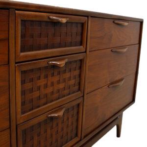 Walnut Mid Century Sculpted Pull Long Dresser / Sideboard