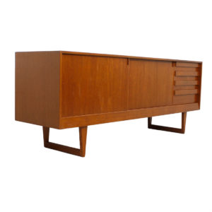 Danish Teak Deep Sideboard / Credenza with Sleigh Legs