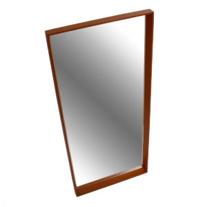 Thin-Edge Danish Modern Teak Mirror w/ Beveled Edges