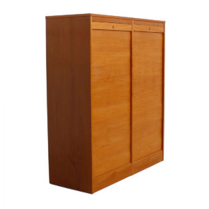 Danish Double Teak Tall Locking Tambour Door Jewelry Cabinet w/ Drawers