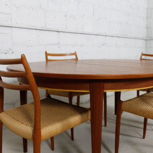 Danish Teak Expanding Round Dining Table w/ Single Leaf
